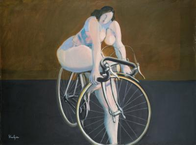 Nude on bicycle